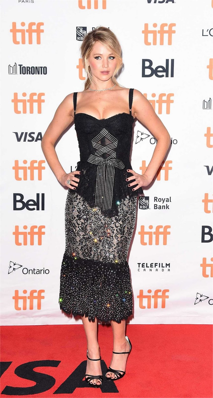 Jennifer Lawrence bares cleavage at the TIFF 'Mother' Premiere