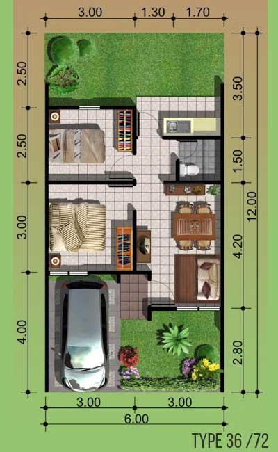 denah rumah minimalis type 36/72