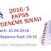 EKPSS  Lise Düzeyi Deneme Sınavı - 2016/1
