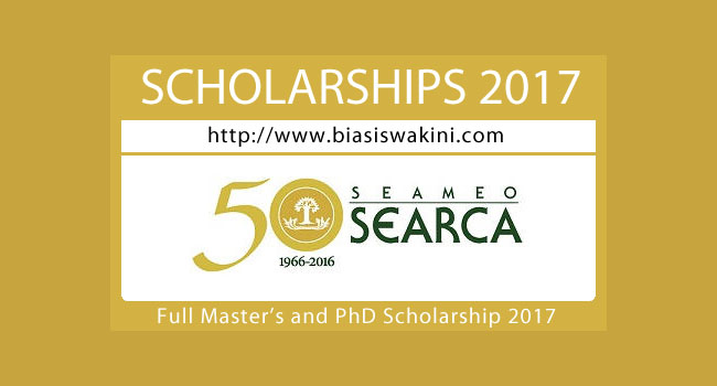 Full Master's and PhD Scholarship 2017