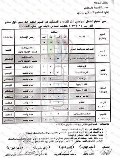 جدول امتحانات الصف السادس الابتدائي 2017 الترم الثاني محافظة سوهاج