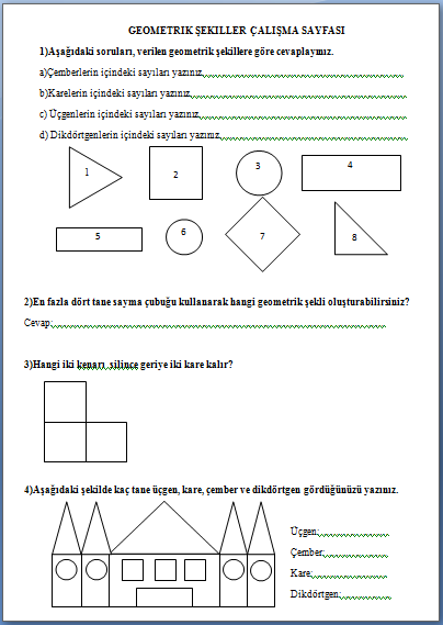 Geometrik Sekiller Degerlendirme Sayfasi 2 Sinif Etkinlikleri