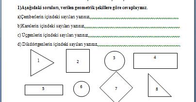 Geometrik şekiller Değerlendirme Sayfası 2 Sınıf Etkinlikleri