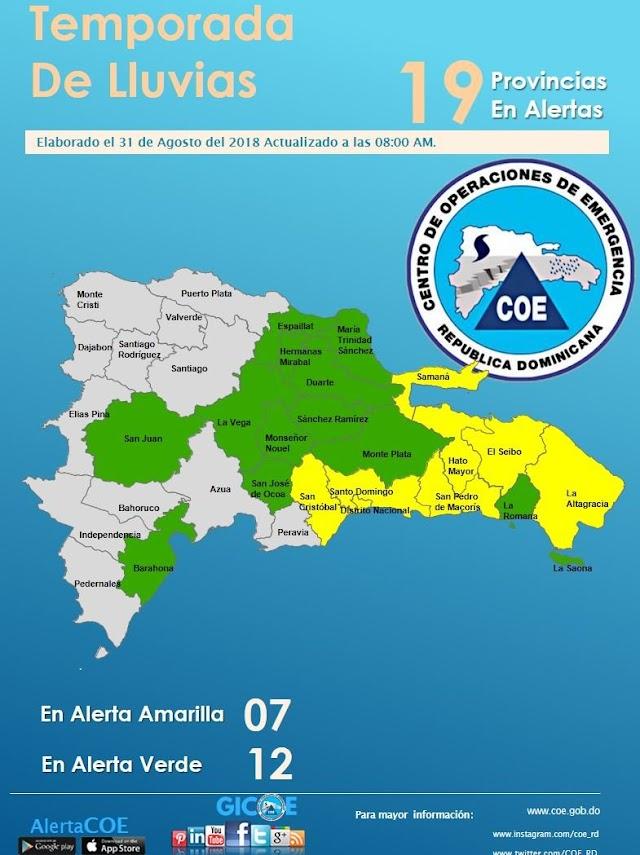 COE Emite Alerta Amarilla para Santo Domingo y Otras Provincias