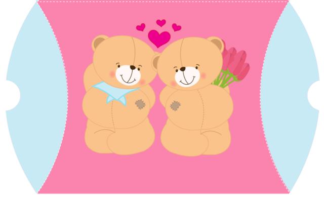Ositos Enamorados: Caja Almohada para Imprimir Gratis.