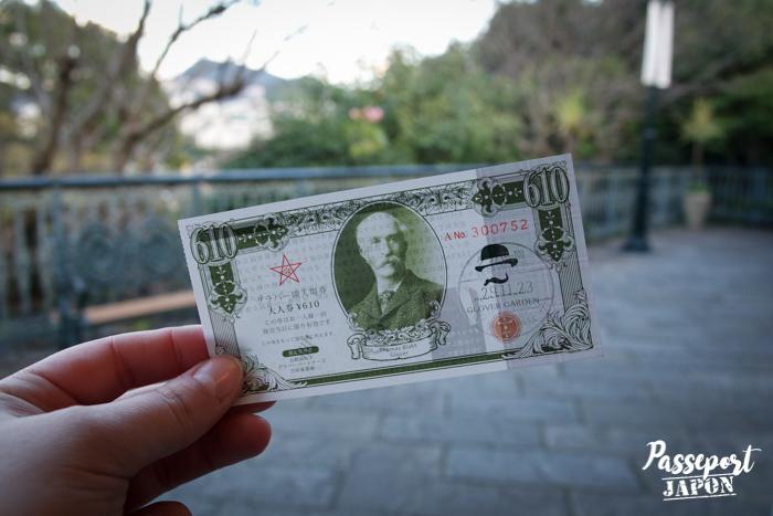 Billet d'entrée Glover Garden, Nagasaki, Kyushu