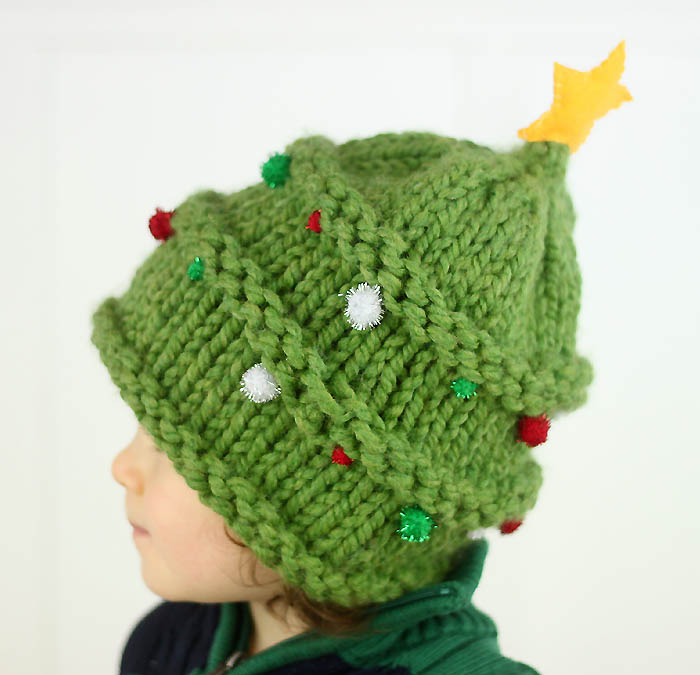 Baby Christmas Tree Hat Knitting Pattern - Gina Michele