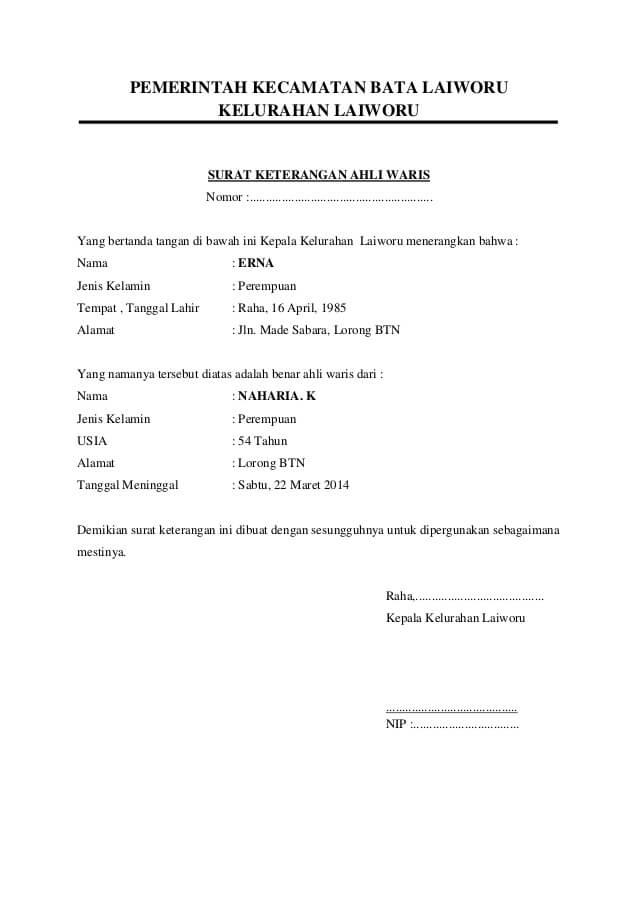 48++ Contoh file surat ahli waris terbaru yang baik