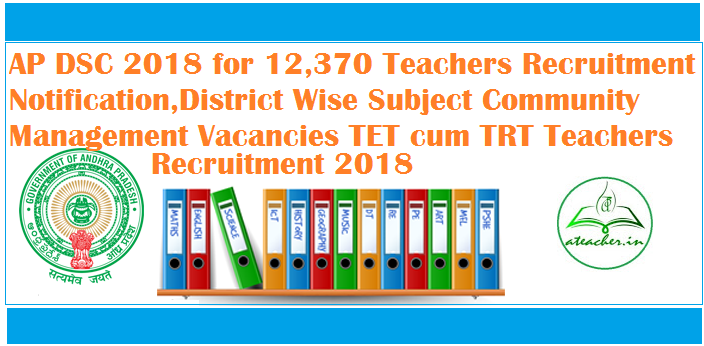 AP DSC 2018 for 12,370 Teachers Recruitment Notification,District Wise Subject Community Management Vacancies TET cum TRT Teachers Recruitment 2018