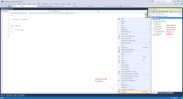 Opening the Property Pages of the Visual Studio Project