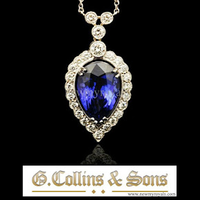 Kate Middleton Jewels G. Collins & Sons tanzanite and diamond earrings and pendant