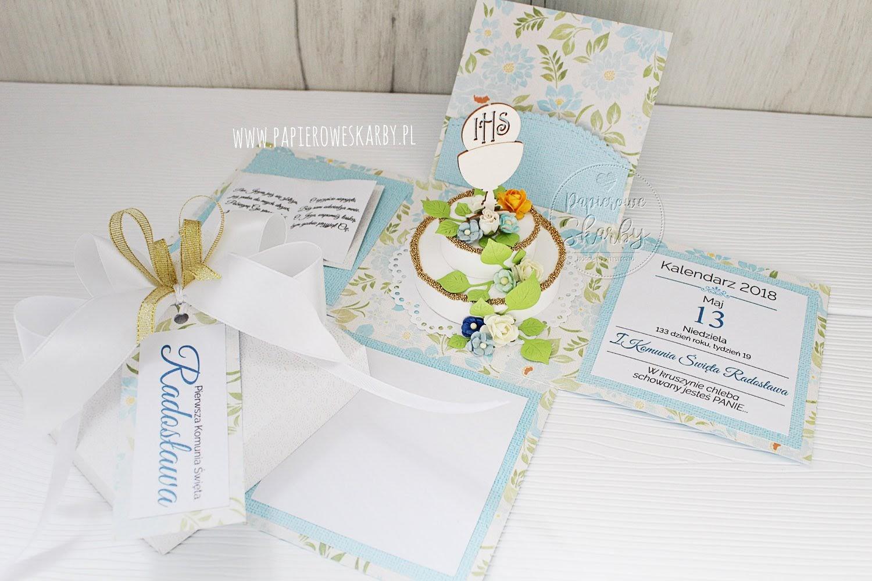 scrapbooking handmade rękodzieło exploding box eksplodujące pudełko kartka 3d przestrzenna cardmaking komunia święta na komunię świętą dla chłopca dla chłopczyka holly communion