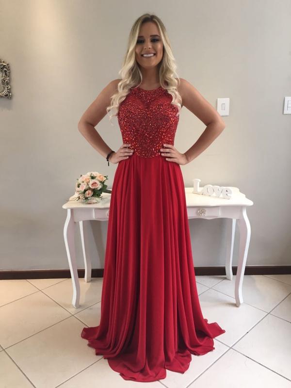 vestido de festa vermelho formatura ou madrinha
