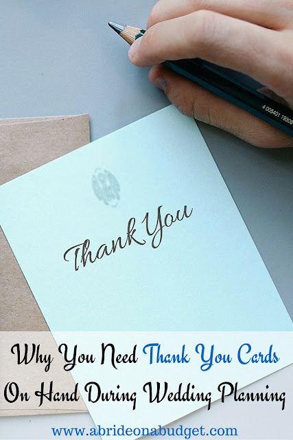 It's so important to have thank you cards on hand when you're wedding planning. Find out why (and how to get some free) right now at www.abrideonabudget.com.