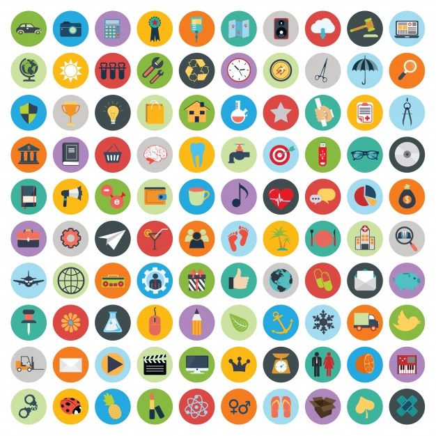 Set of web and technology development icons Free Vector