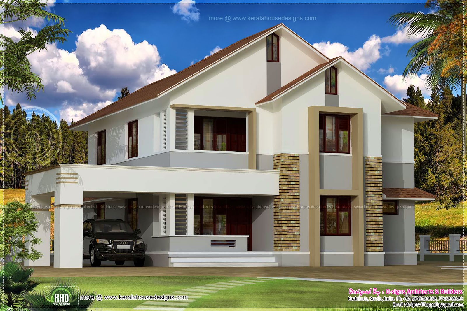 Simple sloping roof house elevation kerala home design for Sloped roof house plans in india