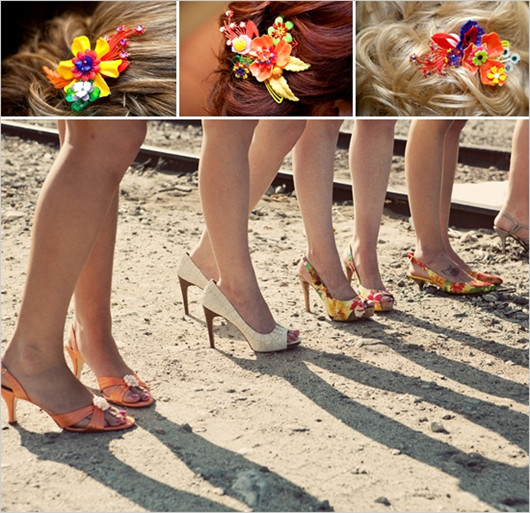 wedding bridesmaid flower shoes ideas