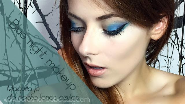 Blue night makeup. | Maquillaje de noche en tonos azules.