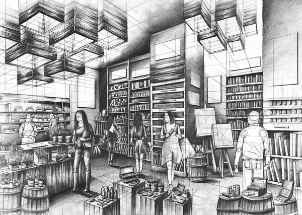 04-Art-Shop-Marlena-Kostrzewska-Interior-Design-and-Architecture-in-Pencil-Drawings-www-designstack-co