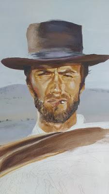 Proceso. Cuadro, retrato de Clint Eastwood