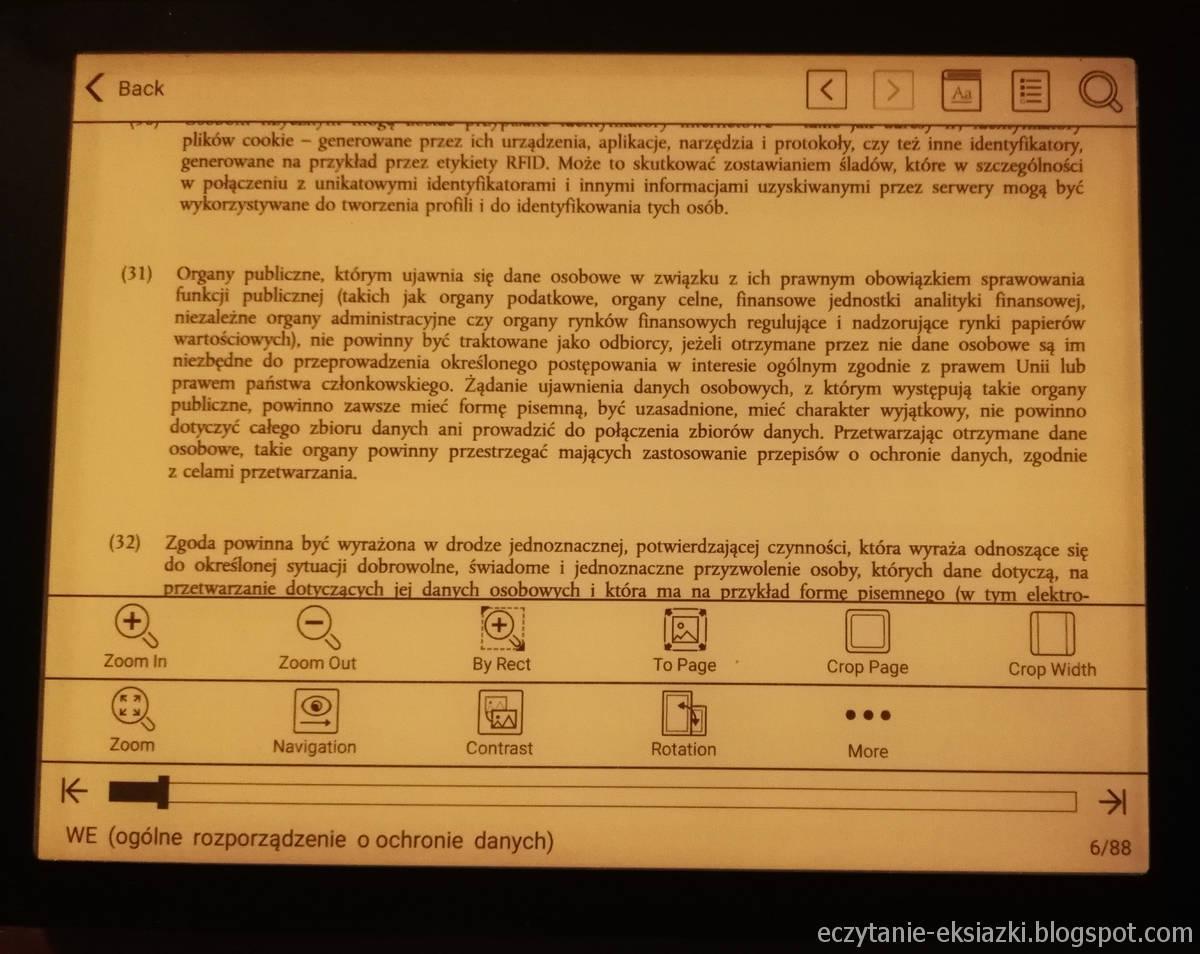 Onyx Boox Nova – plik PDF po przycięciu marginesów