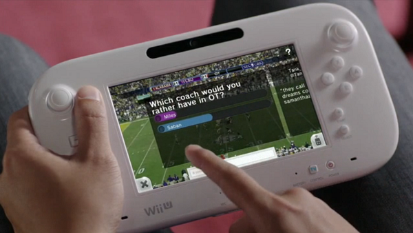 Nintendo TVii football screenshot GamePad TV Tag feature
