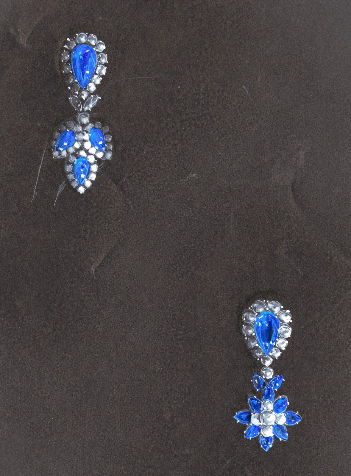 A drawn set of earrings or brooches in blue and white.