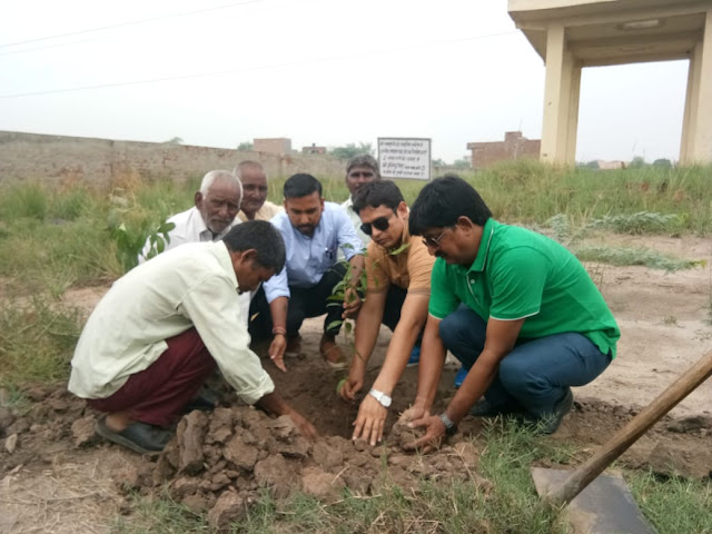 Sachin Sarpanch distributed 151 saplings to the villagers on the birthday and planted it in village Bhankapur.