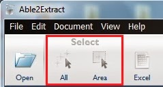 ab2extract area selection