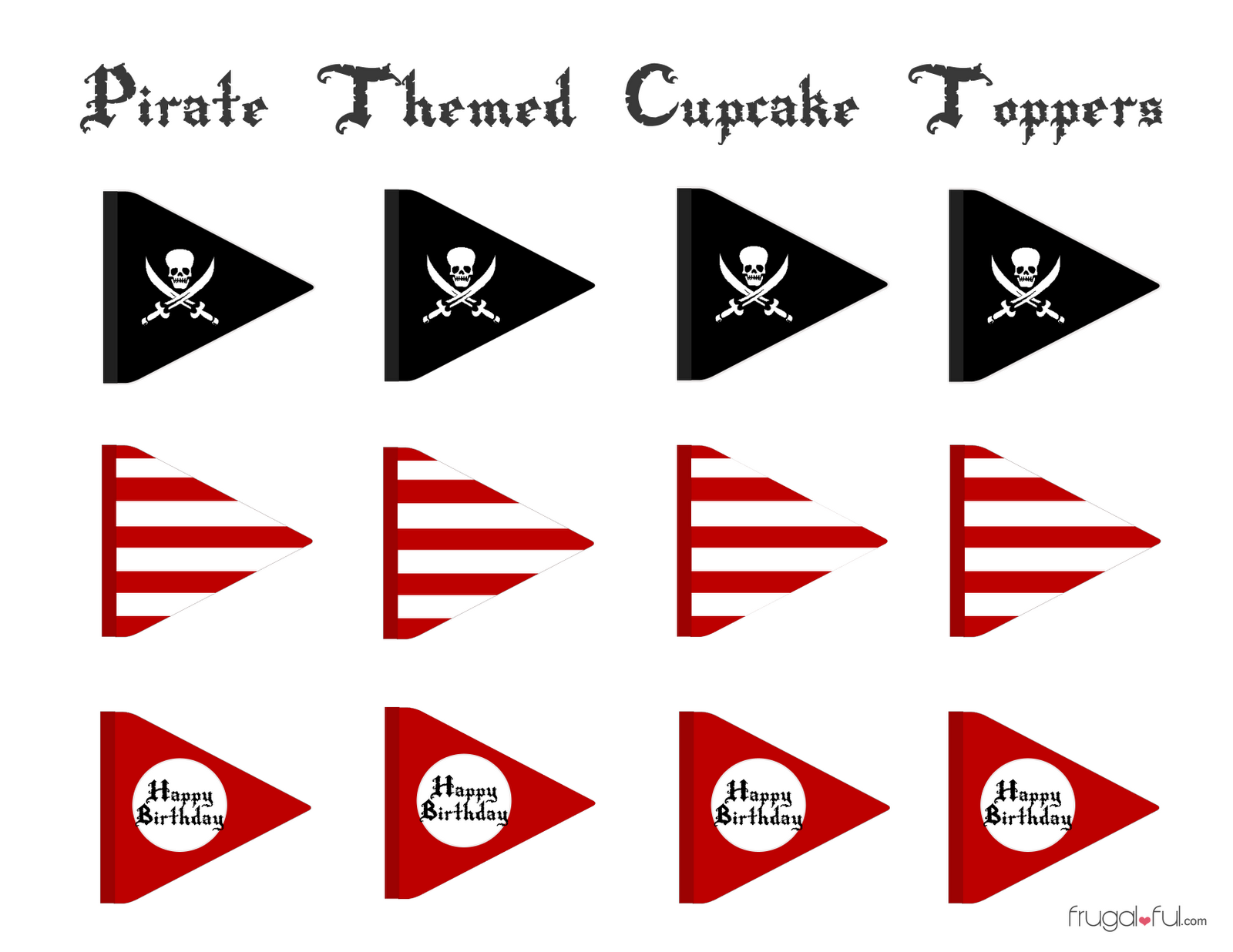 Free Pirate Cupcake Printable Toppers