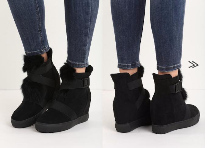 Sneakers cu platforma imblanitti de iarna negri/gri ieftini