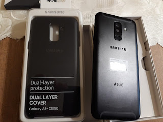 Samsung Galaxy A6+ with case