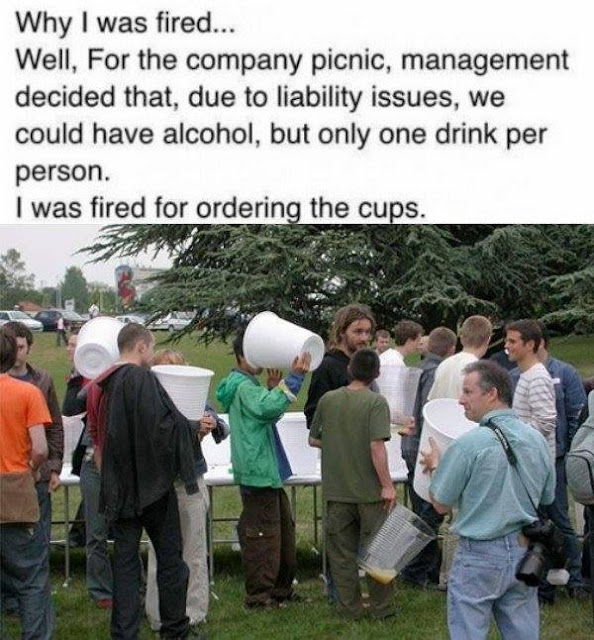 man fired for ordering huge beer cups