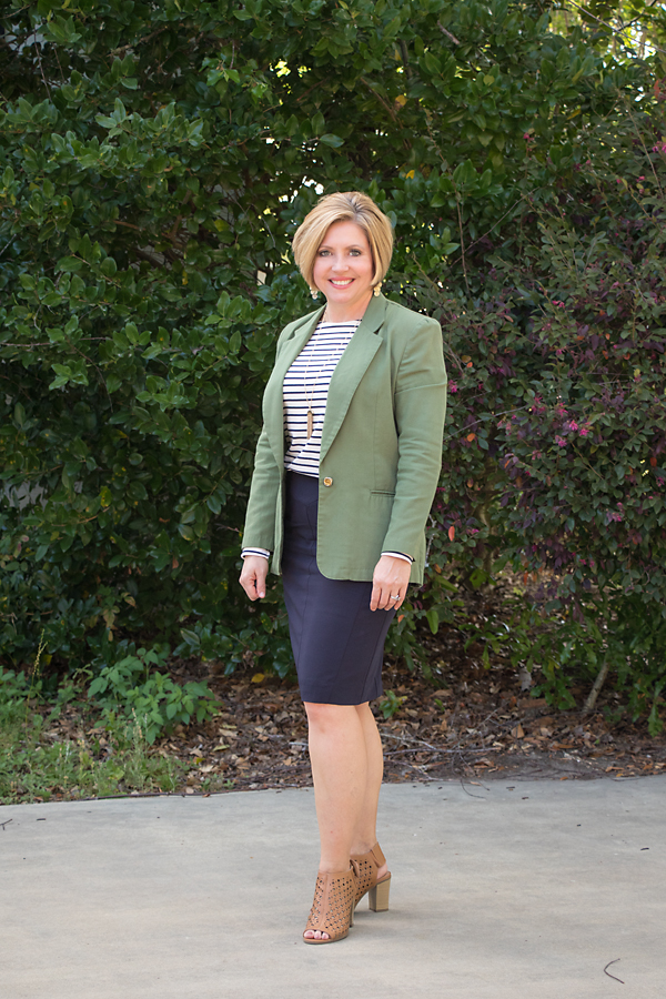 Olive blazer and navy pencil skirt