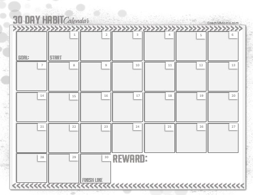 30 day habit calendar to insanity back for 3 day calendar template