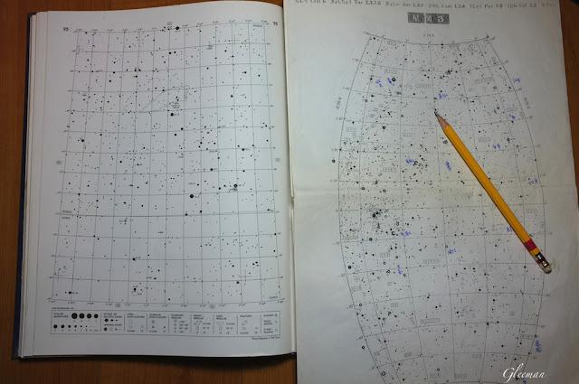 星圖的大小差異,圖左的URANOMETRIA  2000.0 的星圖涵蓋的視野約1h,圖右的6星等野外星圖中視野約6h。