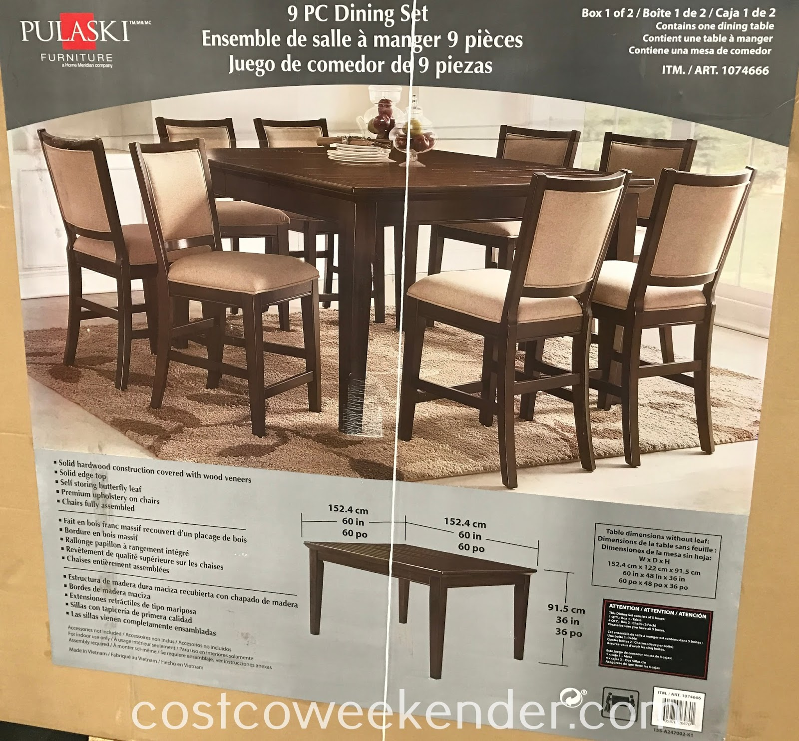 Costco 1074666 - Pulaski Furniture 9pc Dining Set: great for any home's dining room
