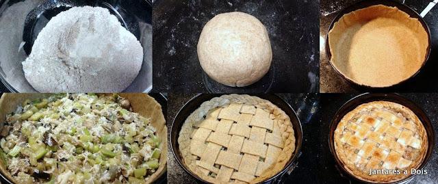 Foto das Etapas da Montagem da Torta de Legumes
