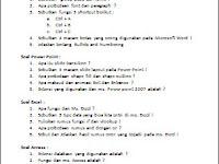 Soal-soal Tentang Microsoft Word, Excel, PowerPoint dan Access Essay