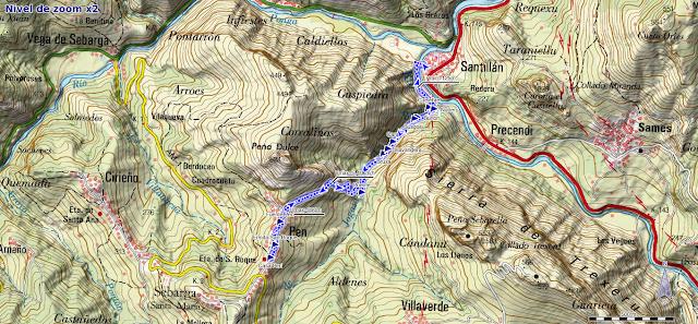 Mapa de la ruta de Beyu Pen