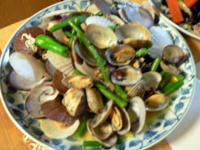 貝の炒め物完成