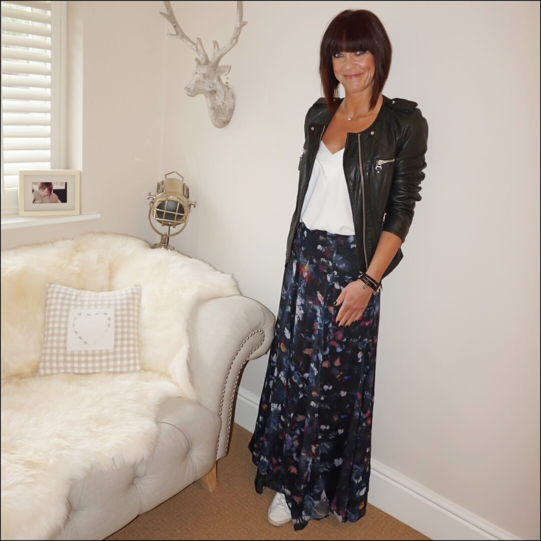 my midlife fashion, isabel marant etoile leather biker jacket, mango flowy camisole, lily and lionel floral maxi skirt, golden goose superstar low top leather trainers