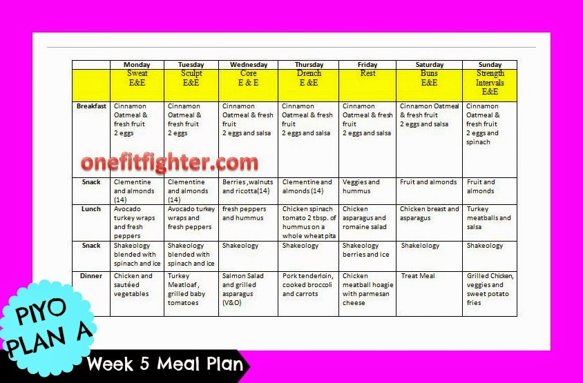 piyo meal plan, clean eating meal plan