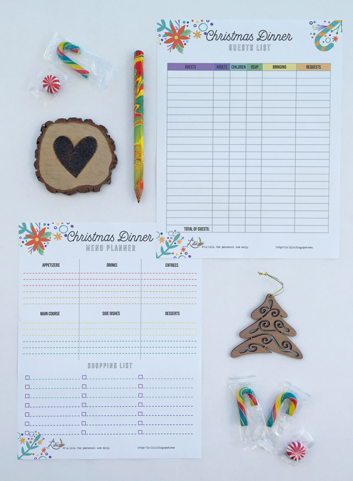 Free printable Christmas dinner party guests list and menu planner, color love, color wheel
