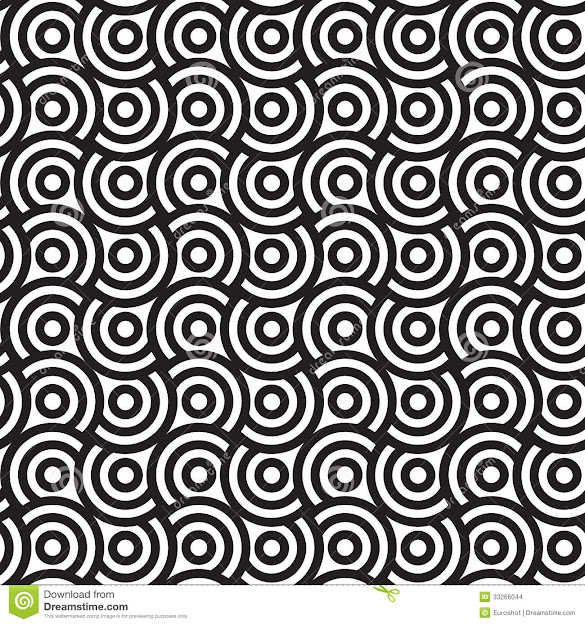 Spirals And Circles Black And White Vector Seamless Pattern