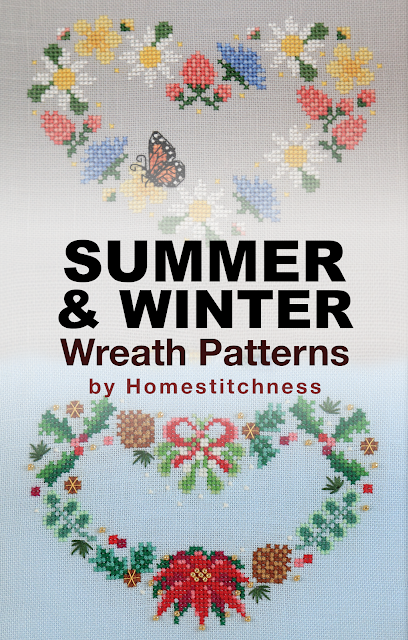 Summer Winter Wreath Cross Stitch Patterns by homestitchness