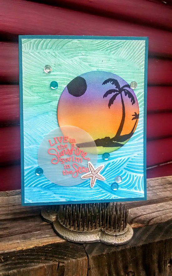 Beach Palm Tree card by Jeanie Tavitas | Paradise Palms stamp sets by Newton's Nook Designs #newtonsnook