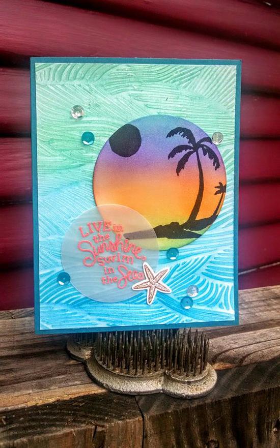 Beach Palm Tree card by Jeanie Tavitas | Paradise Palms stamp sets by Newton's Nook Designs #newtonsnook