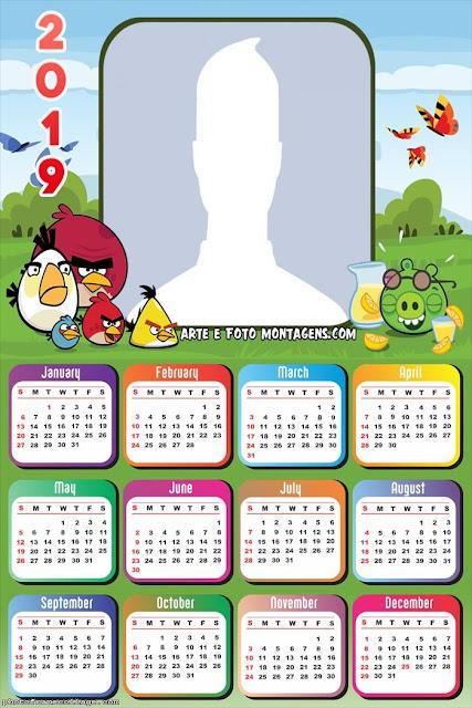 Calendario 2019 de Angry Birds para Imprimir Gratis.