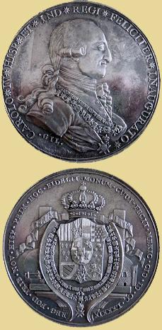 Medalla proclamación de Carlos IV, 1789